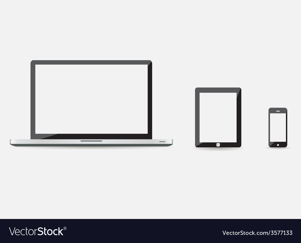 Three modern technology devices vector | Price: 1 Credit (USD $1)