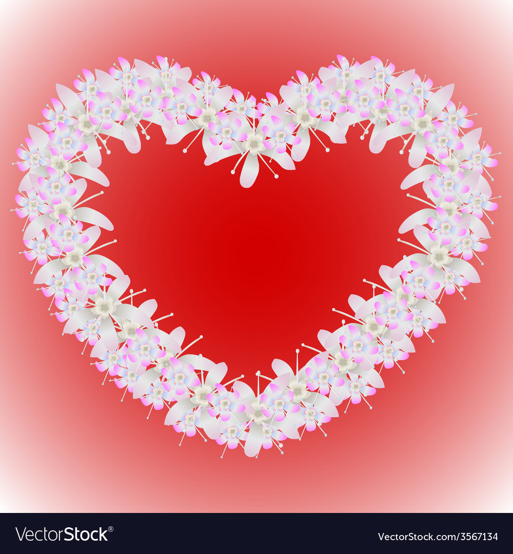 A wreath of flowers in the shape of a heart vector   Price: 1 Credit (USD $1)