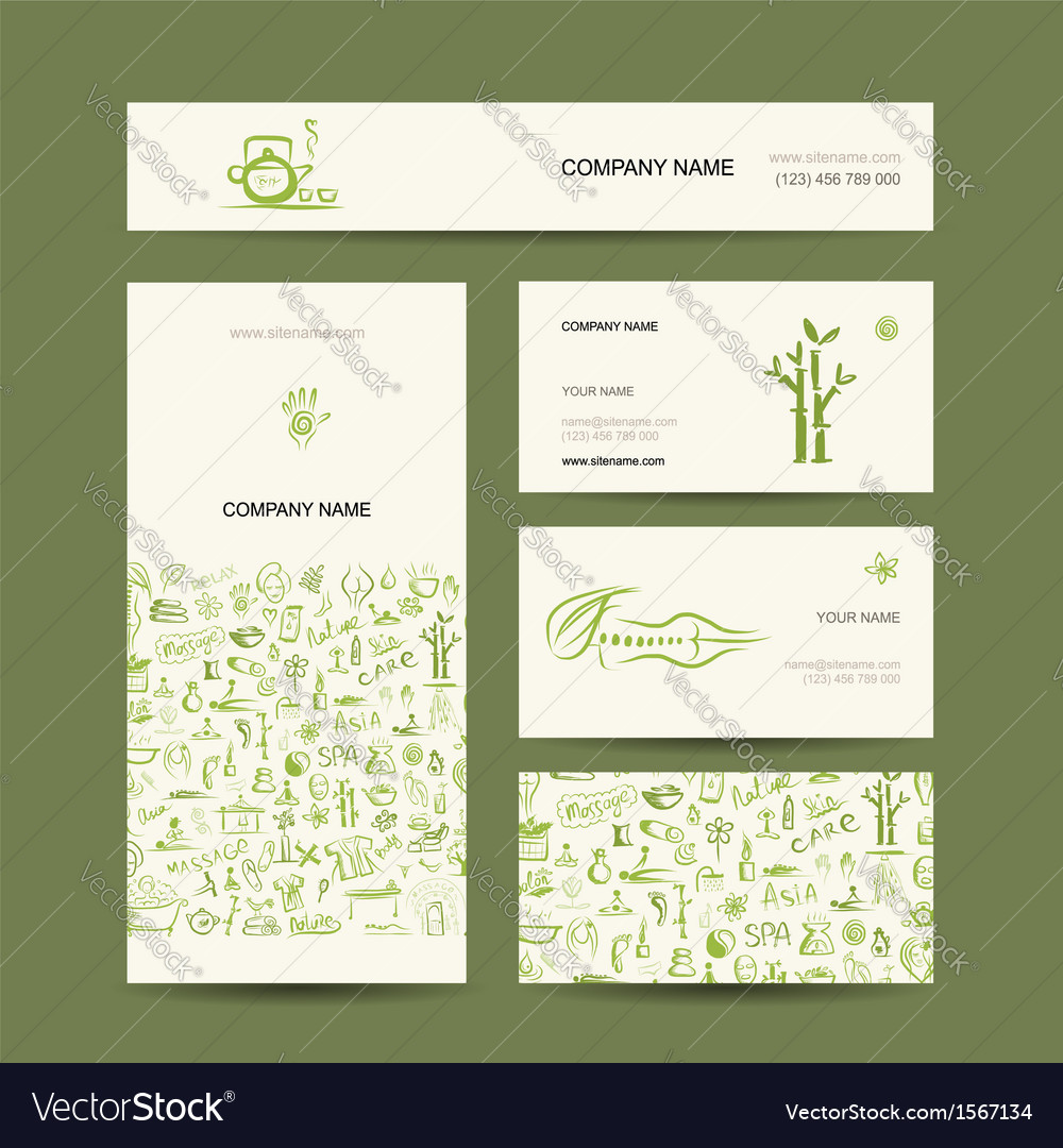 Business cards design massage and spa concept vector | Price: 1 Credit (USD $1)