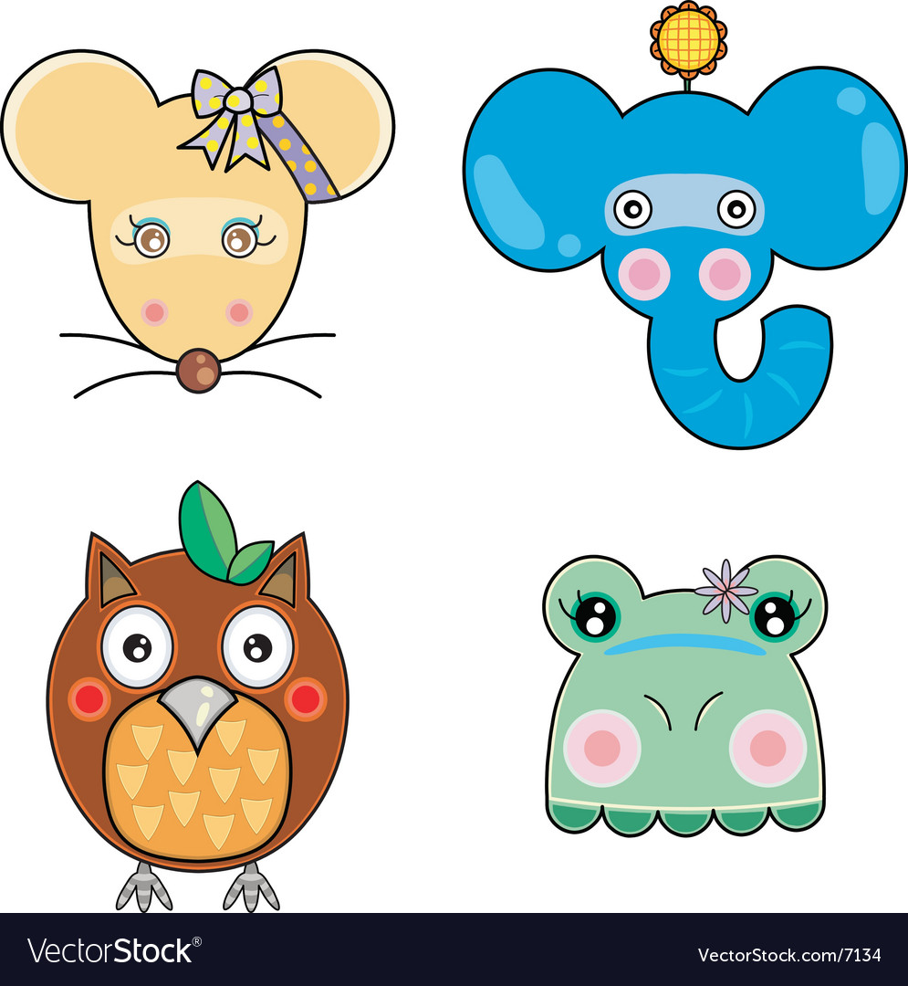 Cute animal faces vector | Price: 3 Credit (USD $3)