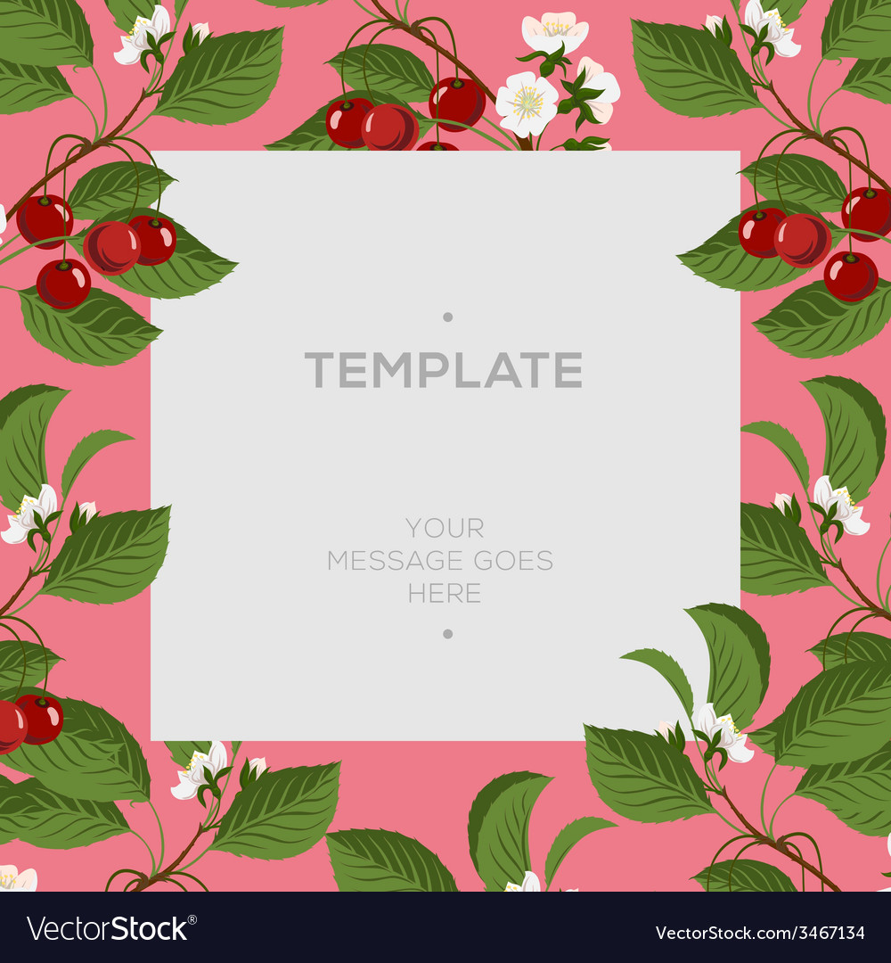 Floral spring template with cherry berries and vector | Price: 1 Credit (USD $1)