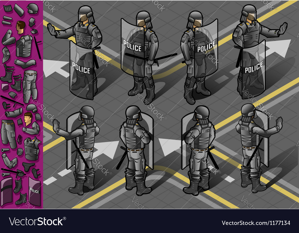 Isometric set of eight policemans standing vector | Price: 5 Credit (USD $5)