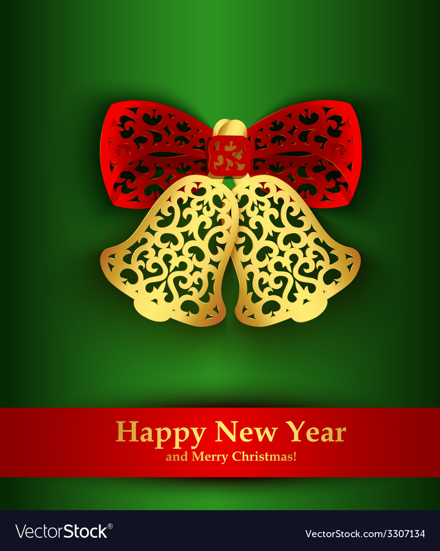 New year greeting card with silhouette of vector | Price: 1 Credit (USD $1)