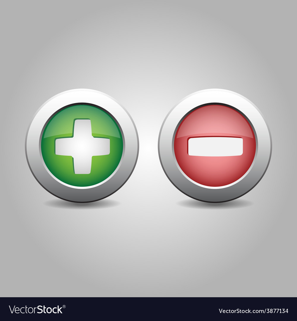 Plus and minus in green and red colours vector | Price: 1 Credit (USD $1)