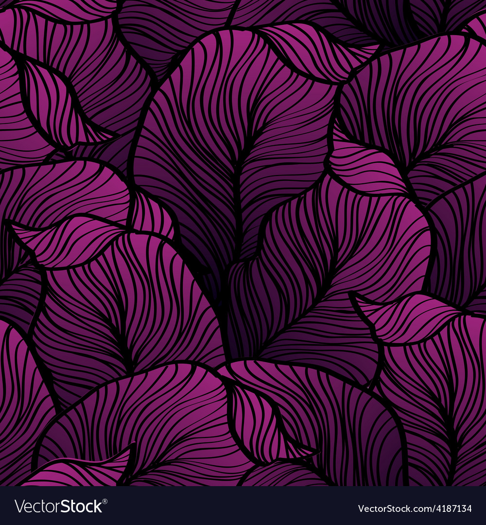 Retro seamless pattern with abstract doodle leaves vector | Price: 3 Credit (USD $3)