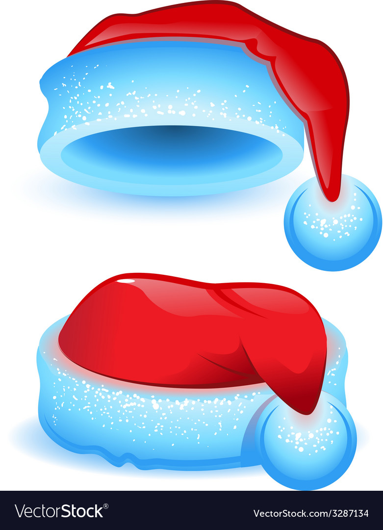 Set red christmas hat with blue trim vector | Price: 1 Credit (USD $1)