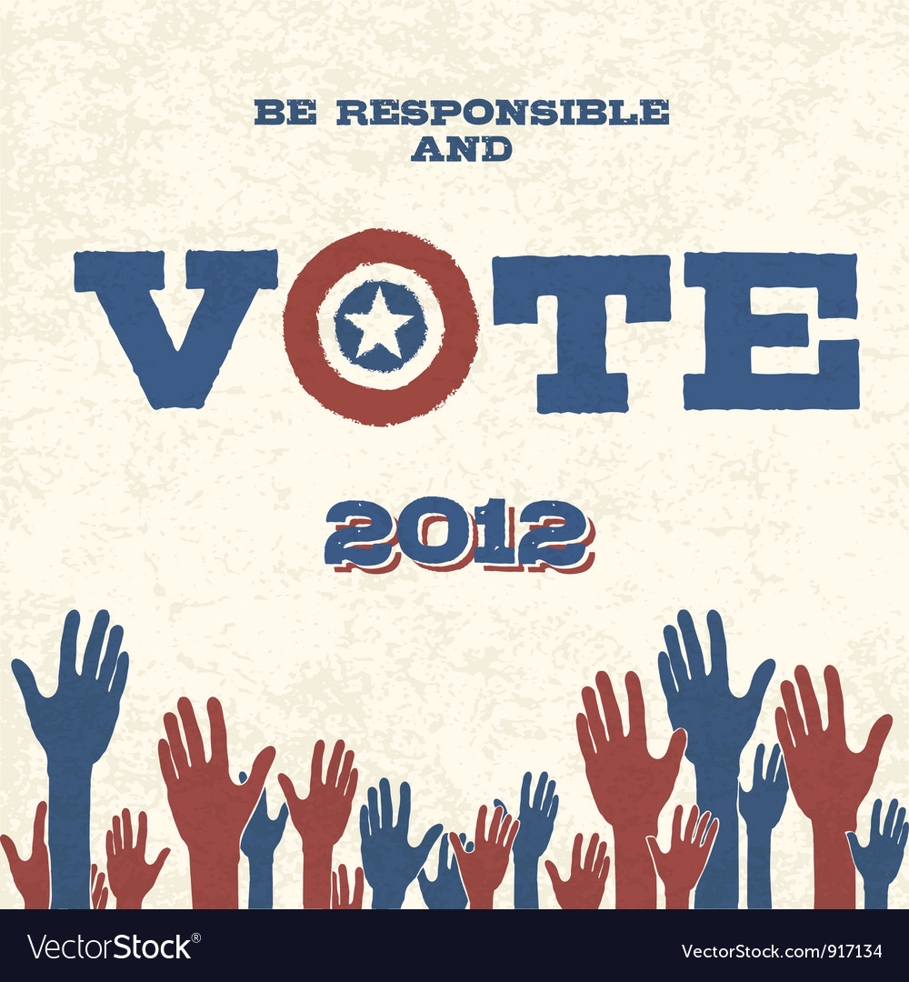 Vote retro poster vector | Price: 1 Credit (USD $1)