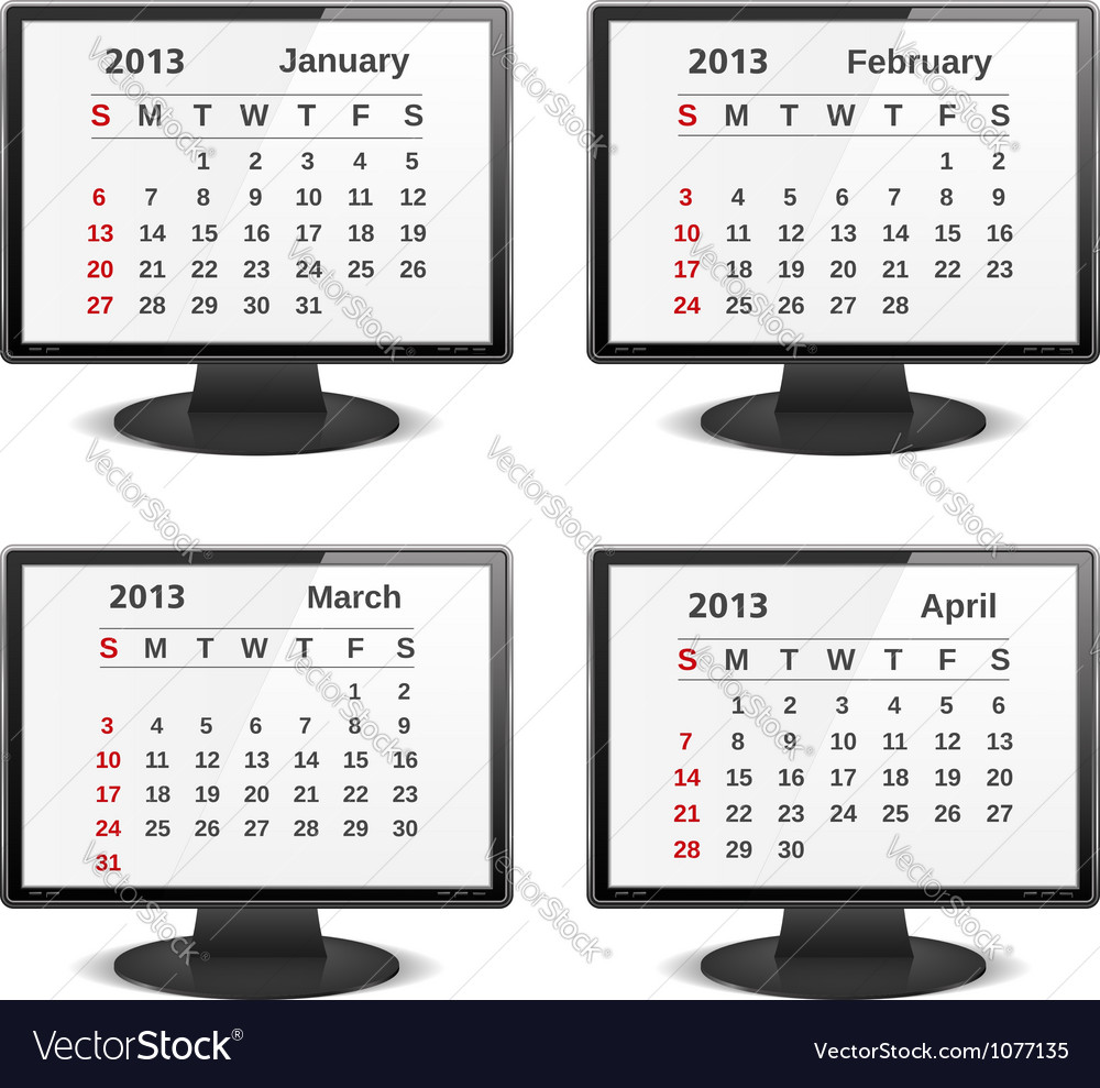 2013 calendar vector | Price: 1 Credit (USD $1)