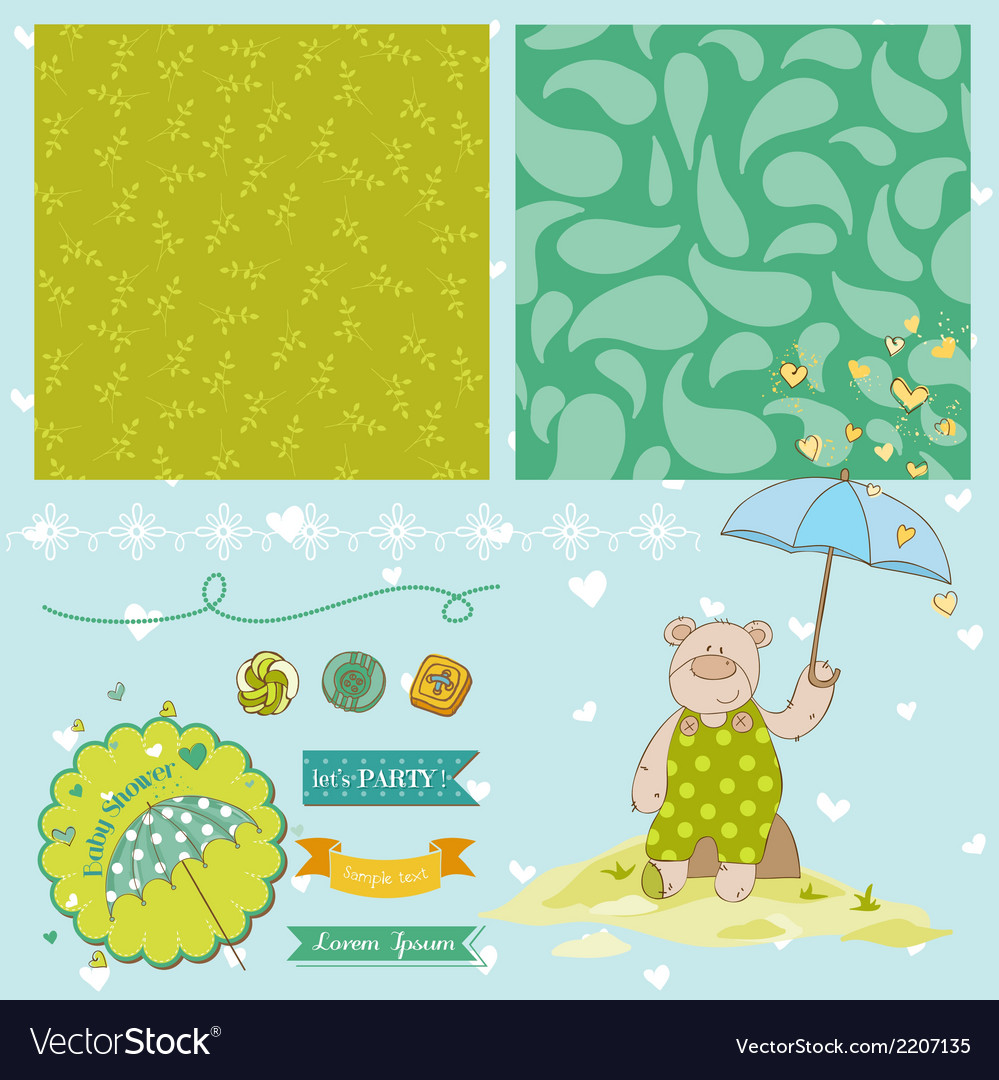 Baby bear shower theme vector | Price: 1 Credit (USD $1)