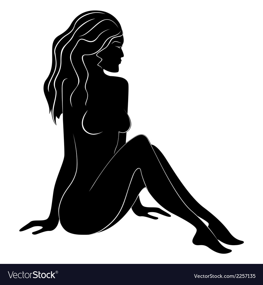 Beautiful female silhouette with flowing hair vector | Price: 1 Credit (USD $1)