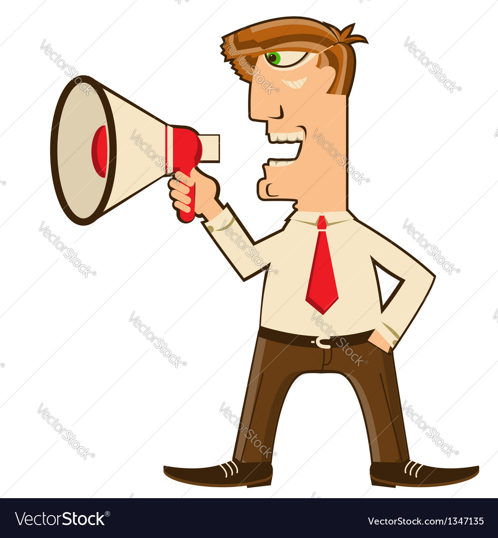 Businessman with loudspeaker vector | Price: 1 Credit (USD $1)