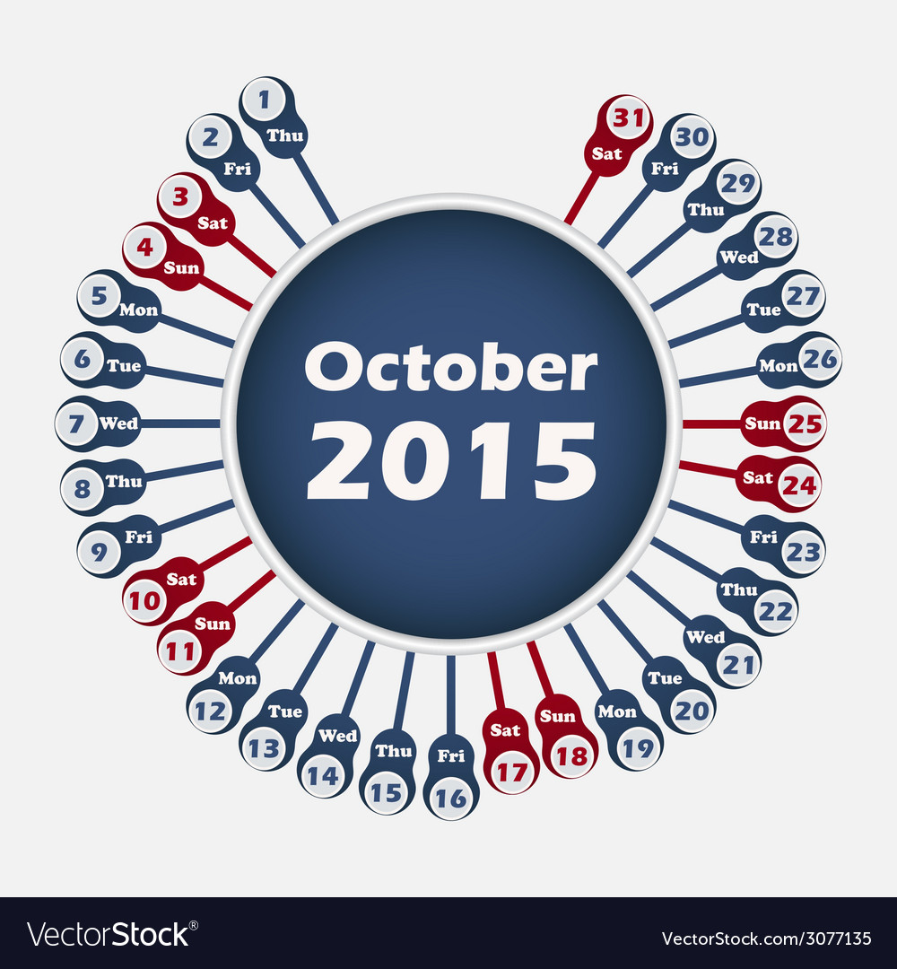 Calendar 2015 october template vector | Price: 1 Credit (USD $1)