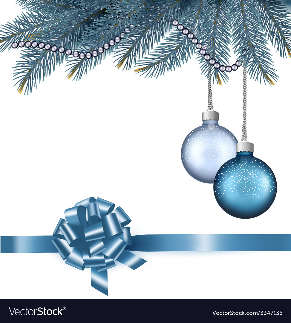 Christmas background with balls and branches vector | Price: 3 Credit (USD $3)