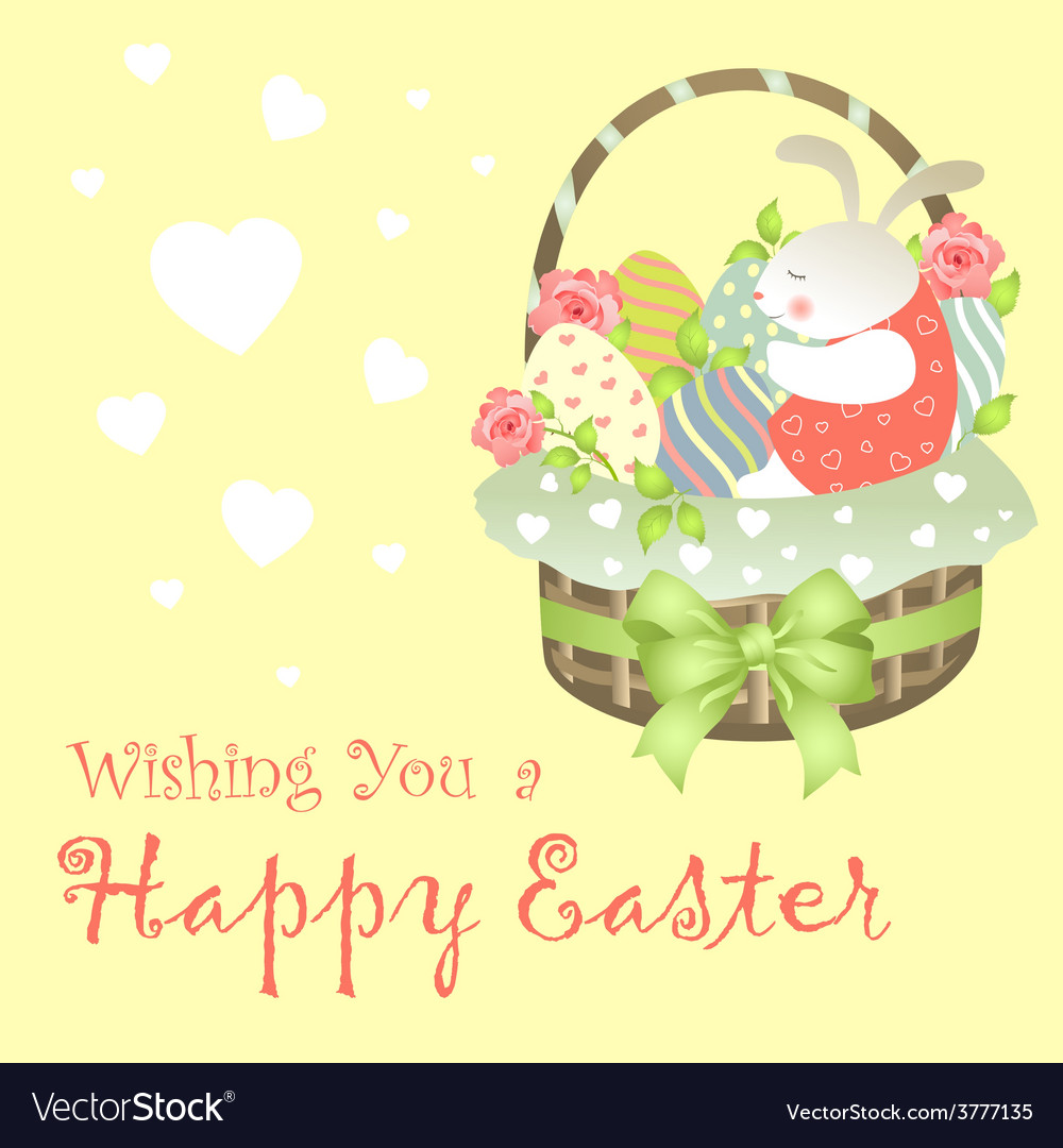 Easter bunny sitting in an basket vector | Price: 1 Credit (USD $1)