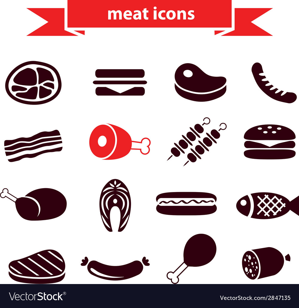 Meat icons vector | Price: 1 Credit (USD $1)