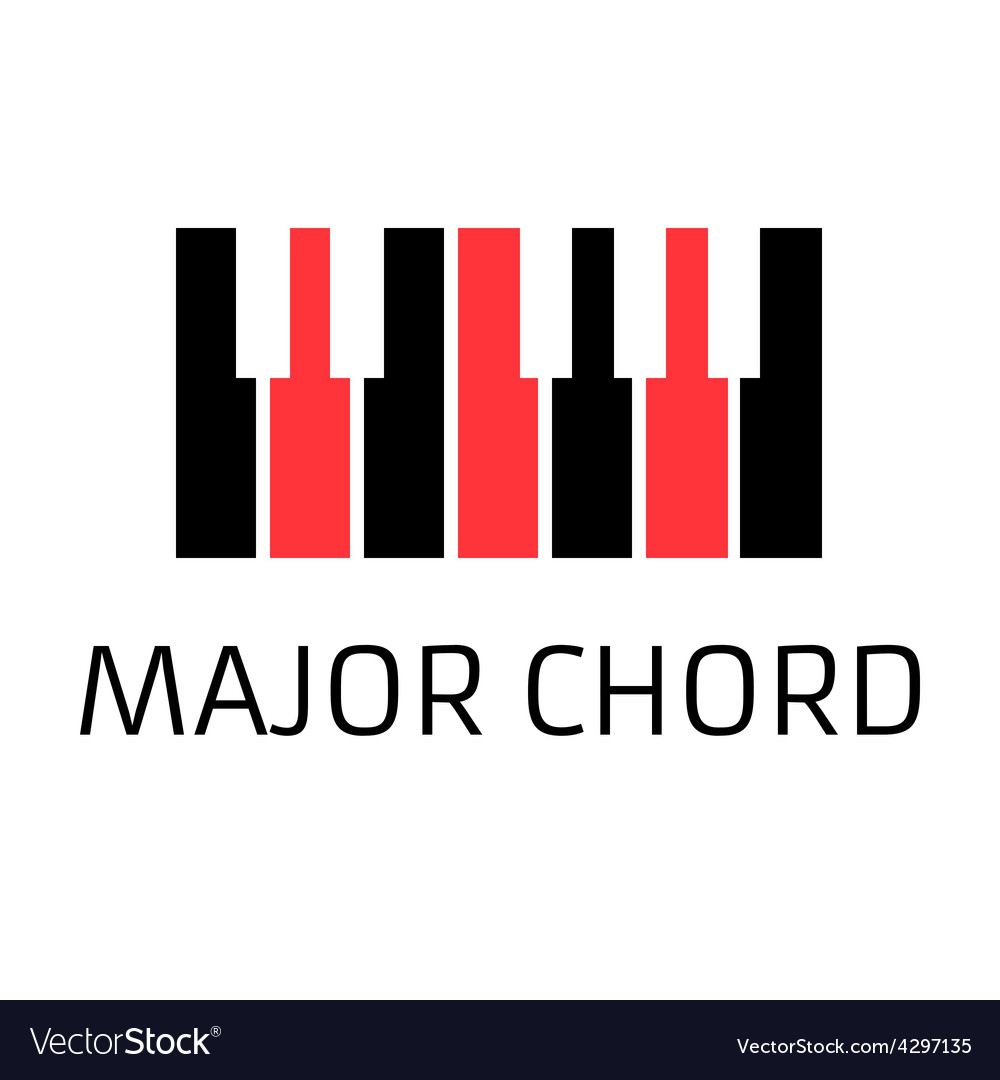 Minimalistic piano keyboard logo with major chord vector | Price: 1 Credit (USD $1)