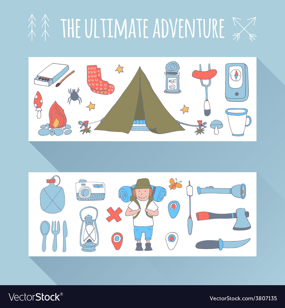 Set of doodle adventure banners vector | Price: 1 Credit (USD $1)
