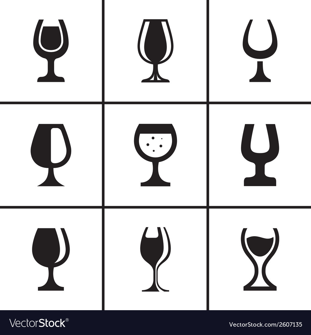 Wineglass icons set vector | Price: 1 Credit (USD $1)