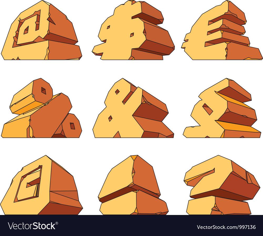 Alphabet made of stone symbols vector   Price: 1 Credit (USD $1)