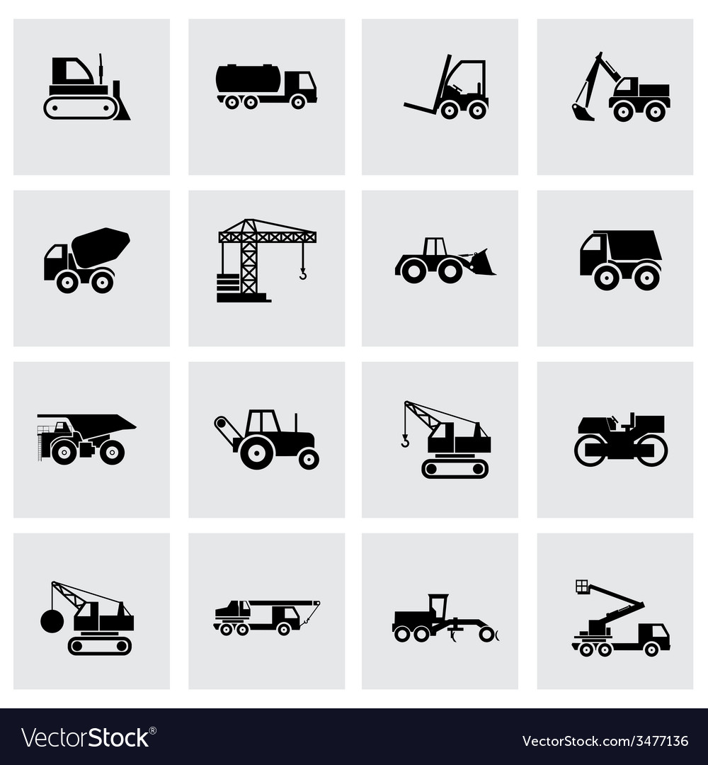 Black construction transport icon set vector | Price: 1 Credit (USD $1)