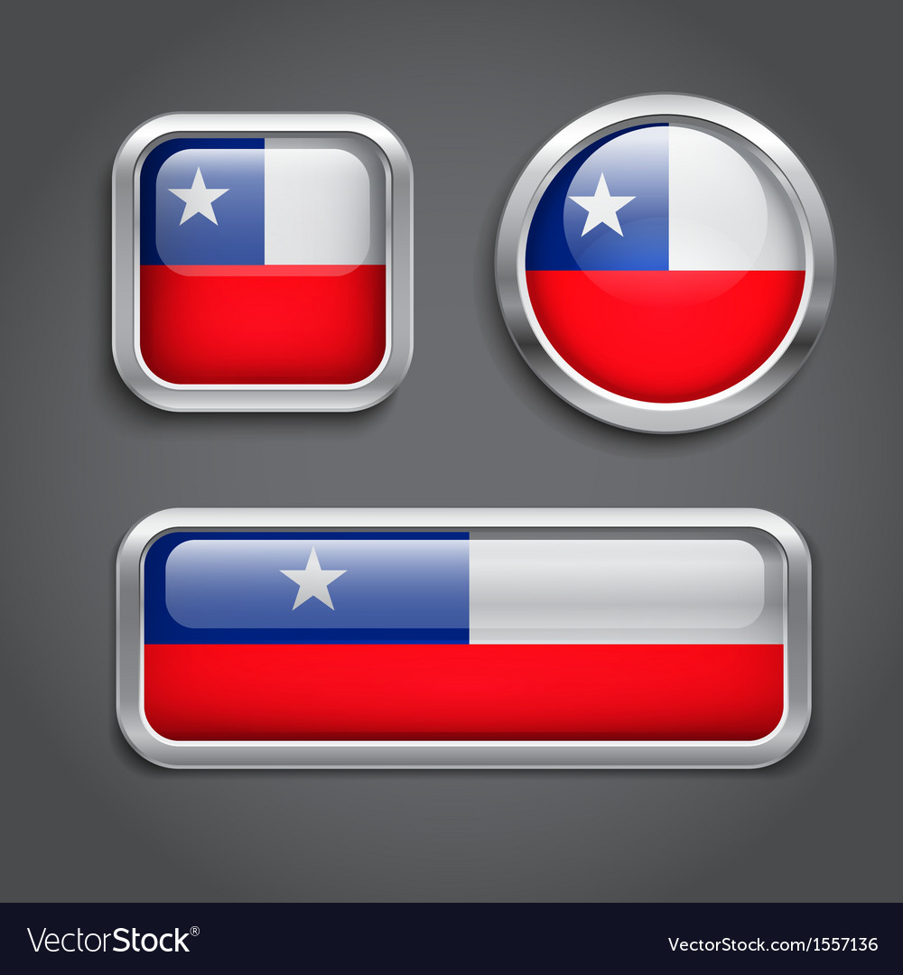 Chile flag glass buttons vector | Price: 1 Credit (USD $1)