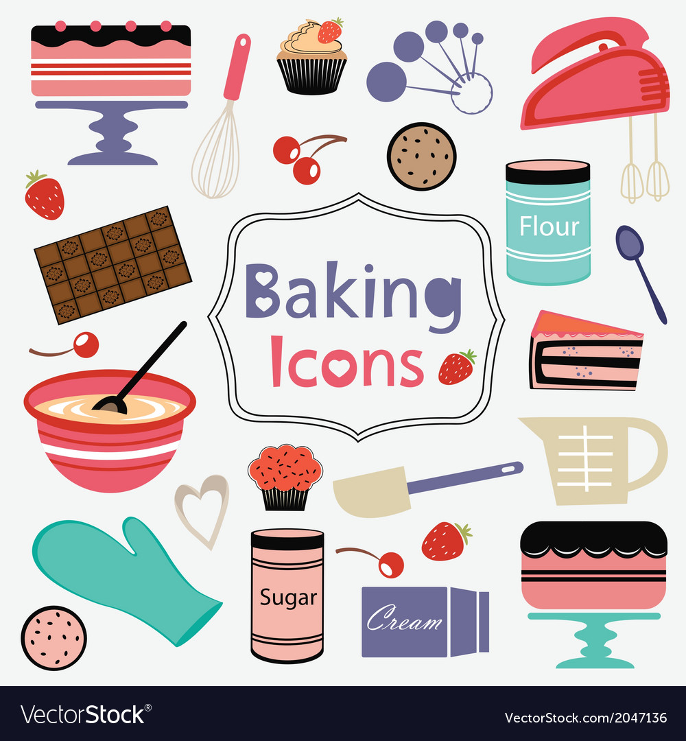 Colorful collection of baking items vector | Price: 1 Credit (USD $1)