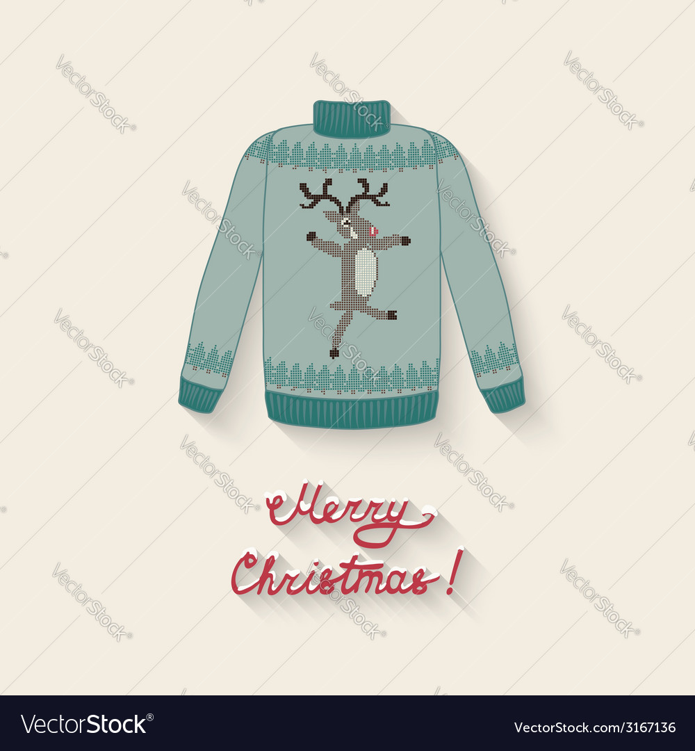 Cute sweater with christmas deer vector | Price: 1 Credit (USD $1)