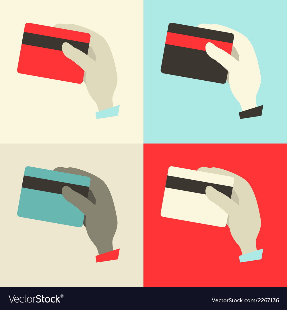 Flat design hands with credit cards set vector | Price: 1 Credit (USD $1)