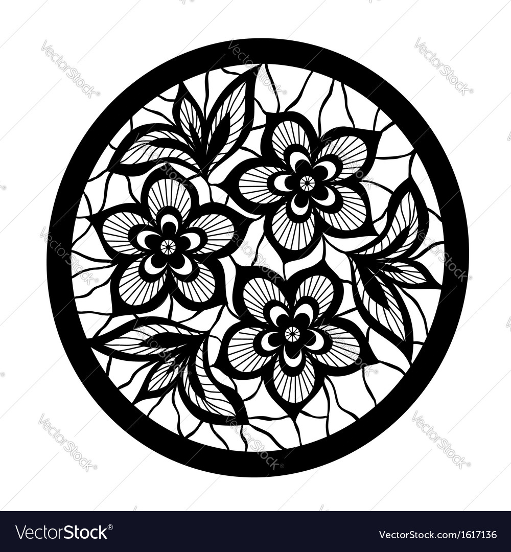 Floral design element flowers with imitation lace vector | Price: 1 Credit (USD $1)