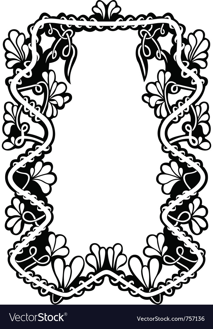 Floral frame isolated vector | Price: 1 Credit (USD $1)