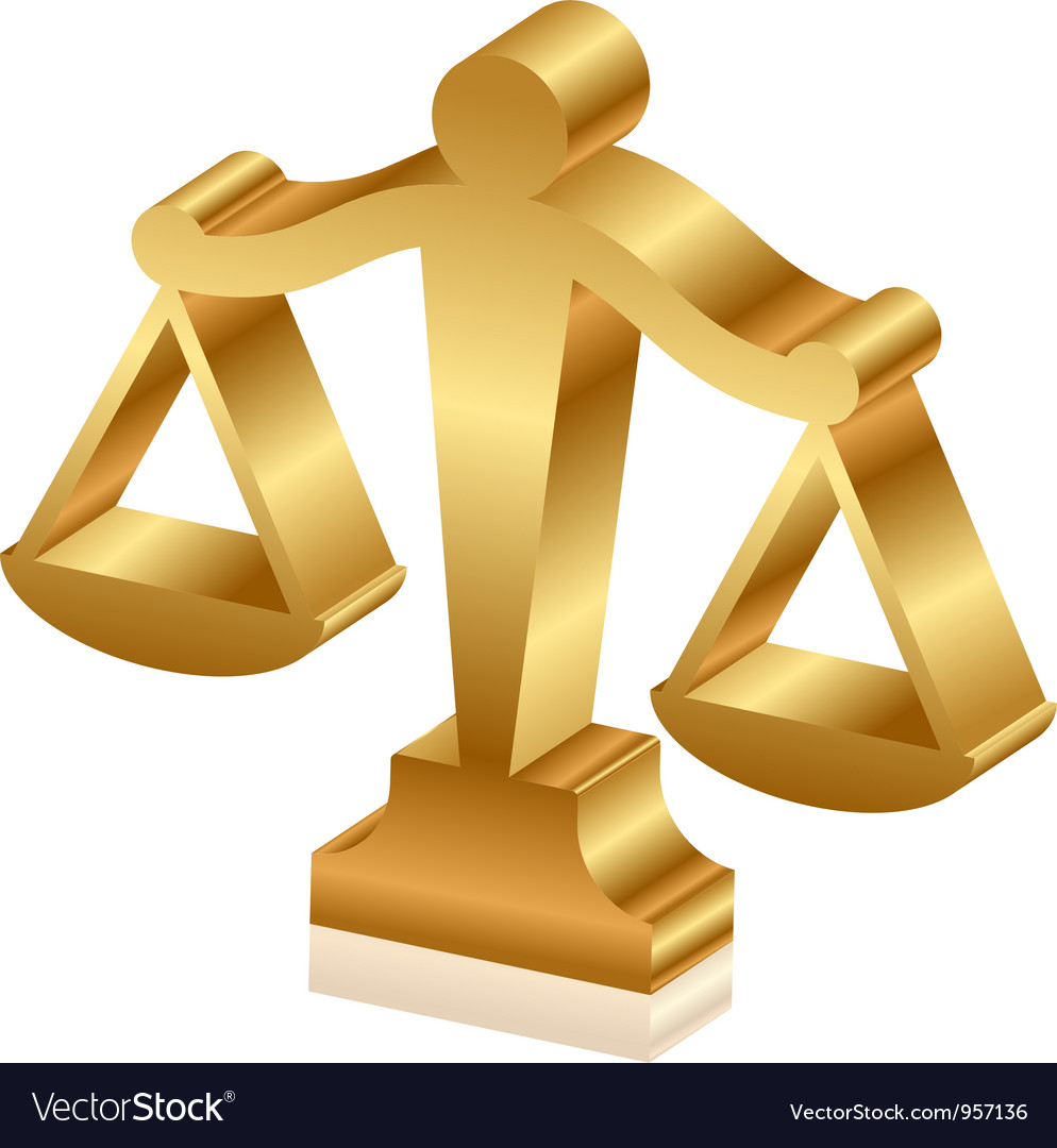 Gold justice scales 3d vector | Price: 1 Credit (USD $1)