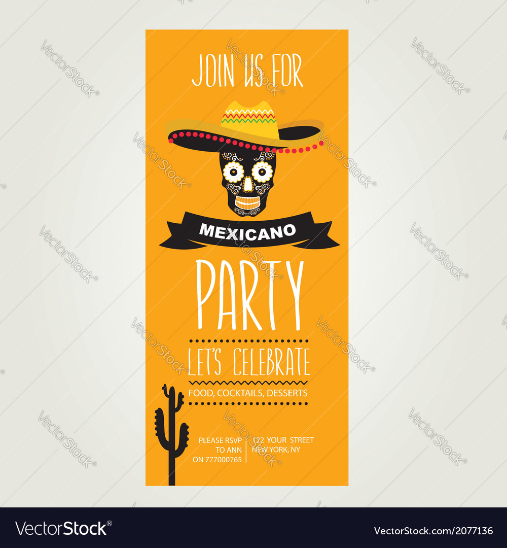 Invitation mexican partytypography vector | Price: 1 Credit (USD $1)