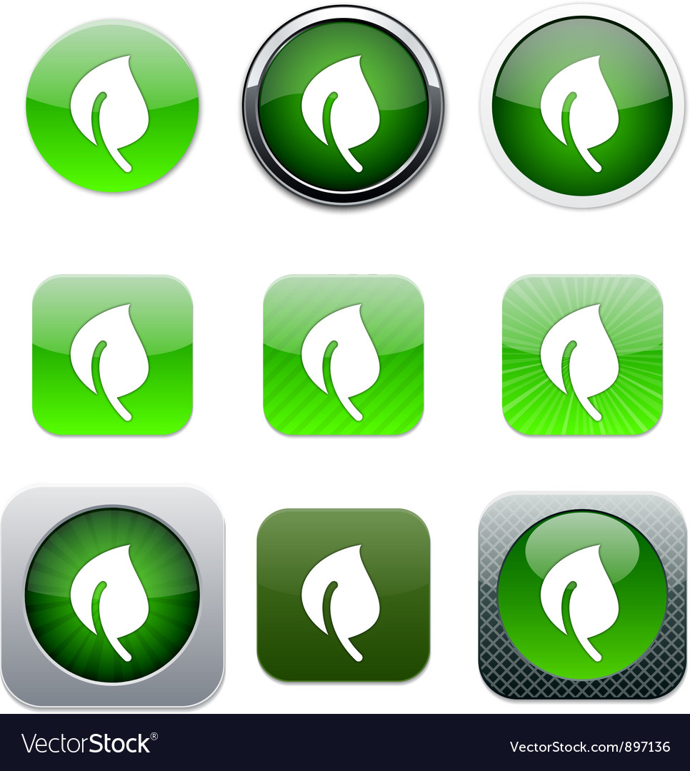 Leaf green app icons vector | Price: 1 Credit (USD $1)
