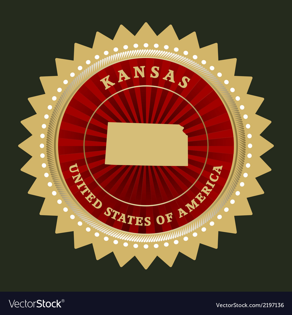 Star label kansas vector | Price: 1 Credit (USD $1)