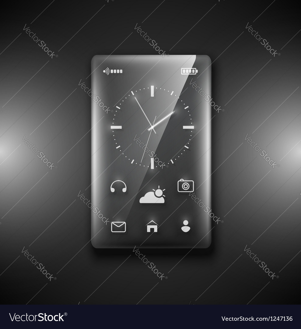 Transparent glass phone vector | Price: 1 Credit (USD $1)