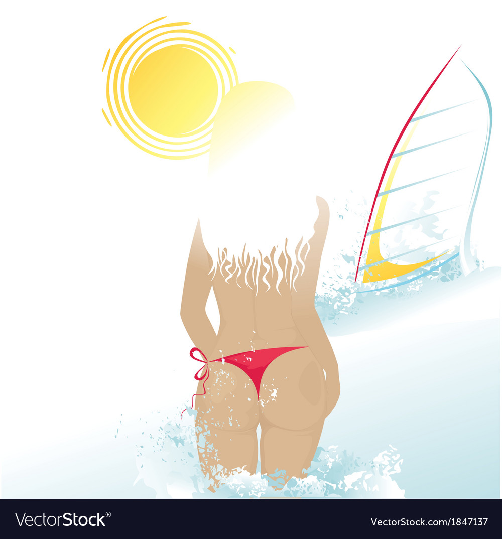 Beach woman and windsurf vector | Price: 1 Credit (USD $1)