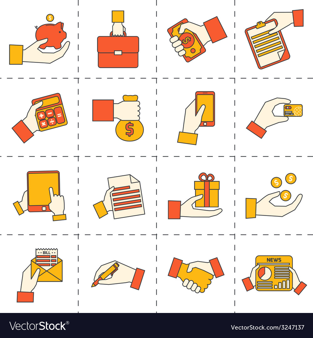 Business hands financial icons vector | Price: 1 Credit (USD $1)