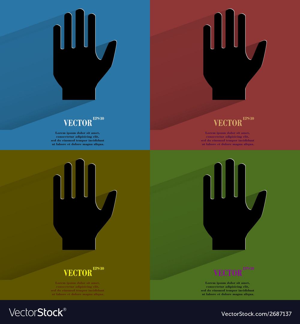 Color set stop hand flat modern web button with vector | Price: 1 Credit (USD $1)