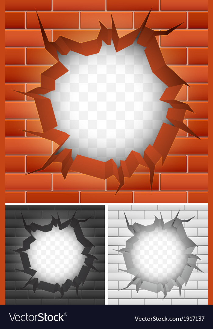 Crack in brick wall vector | Price: 1 Credit (USD $1)