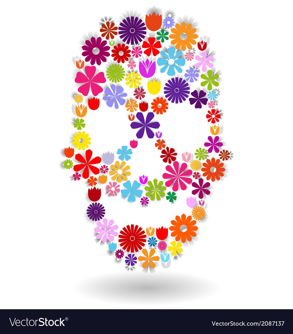 Flower-skull-colors-on-white vector | Price: 1 Credit (USD $1)