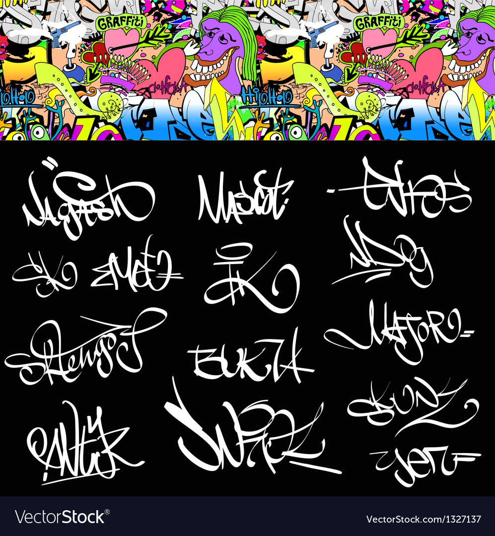 Graffiti font tags urban set vector | Price: 1 Credit (USD $1)