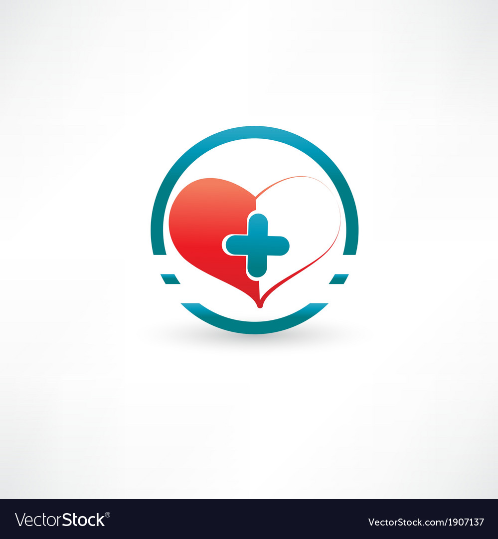 Heart and medical cross inside the circle vector | Price: 1 Credit (USD $1)