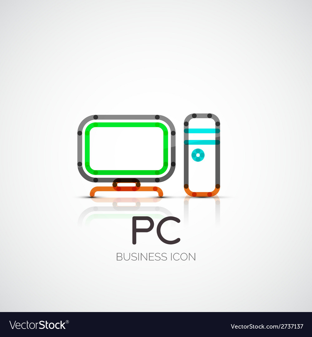 Pc icon company logo business concept vector | Price: 1 Credit (USD $1)