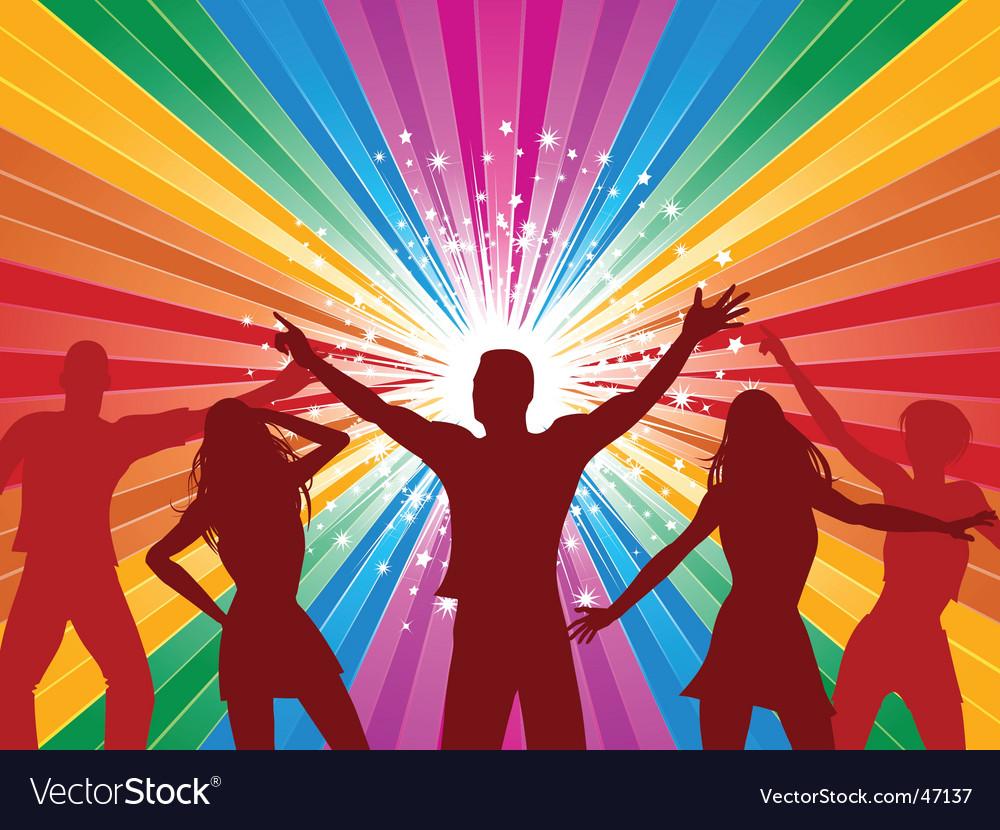 Rainbow starburst and dancers vector | Price: 1 Credit (USD $1)