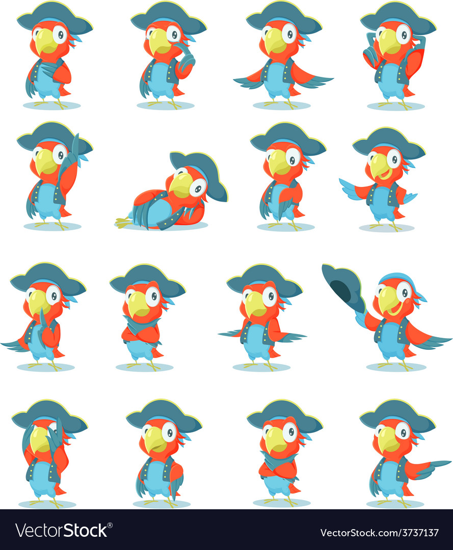 Set parrot vector | Price: 1 Credit (USD $1)