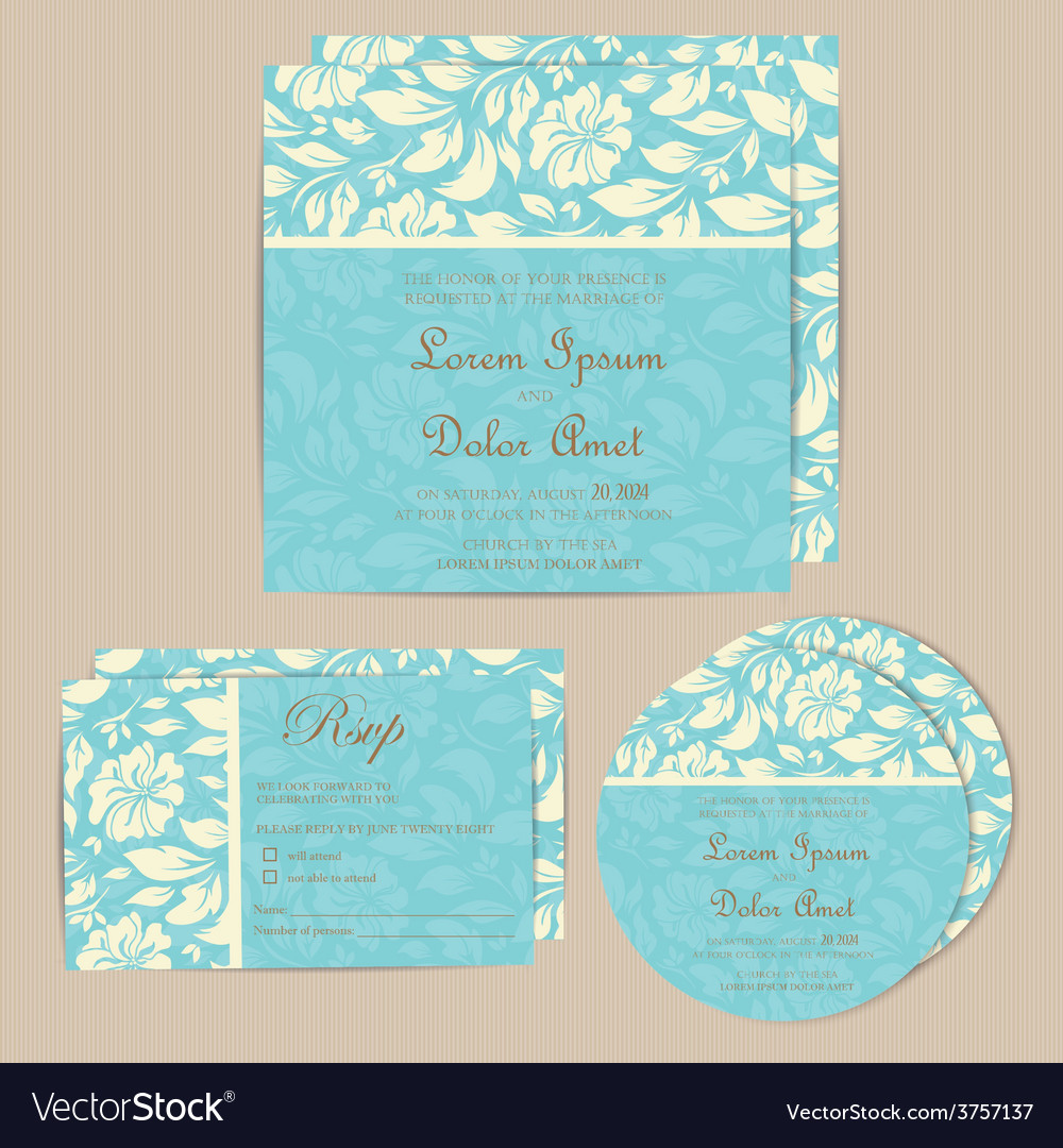 Wedding cards set blue vector | Price: 1 Credit (USD $1)
