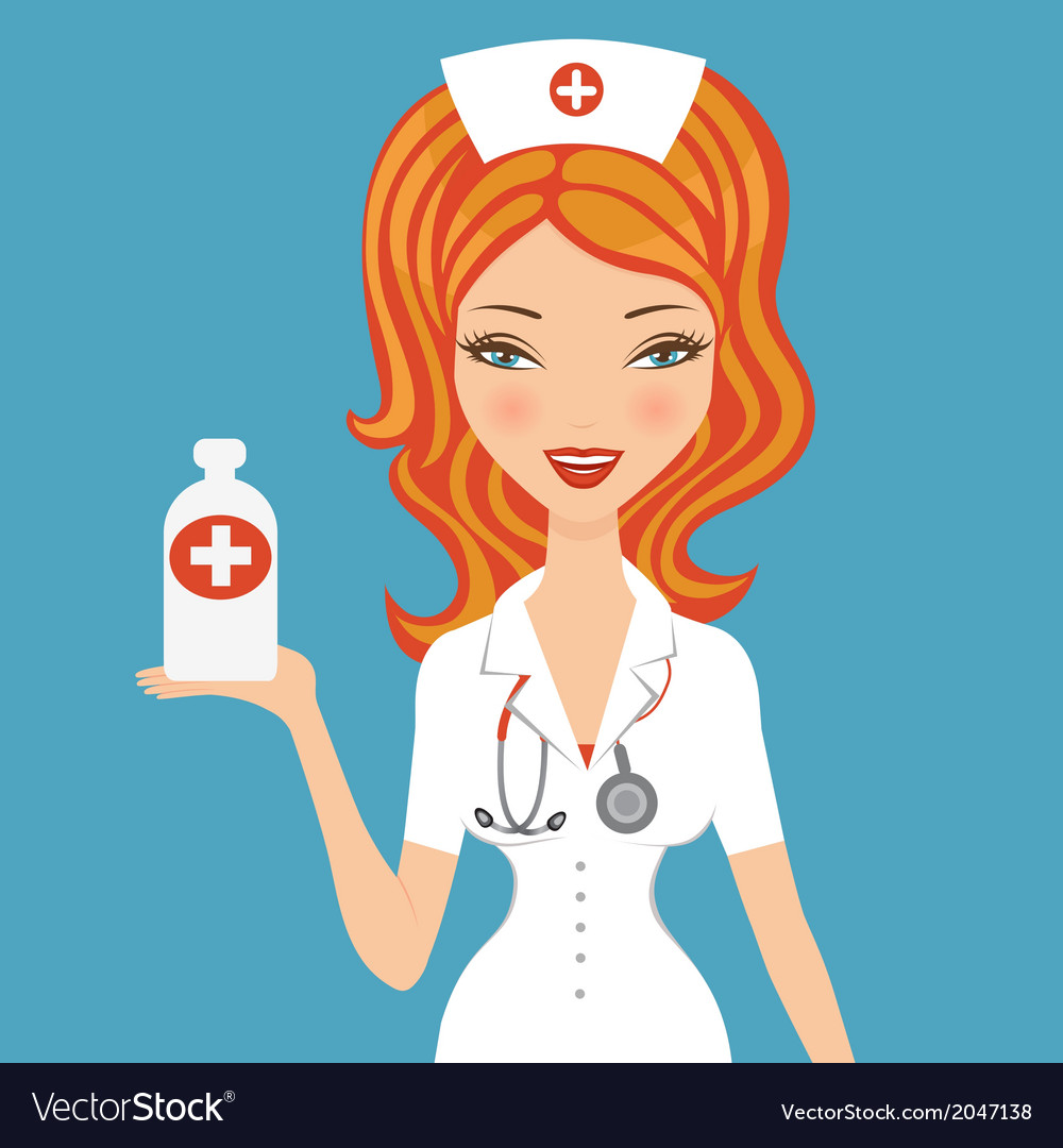 Beautiful doctor holding medicine vector | Price: 1 Credit (USD $1)