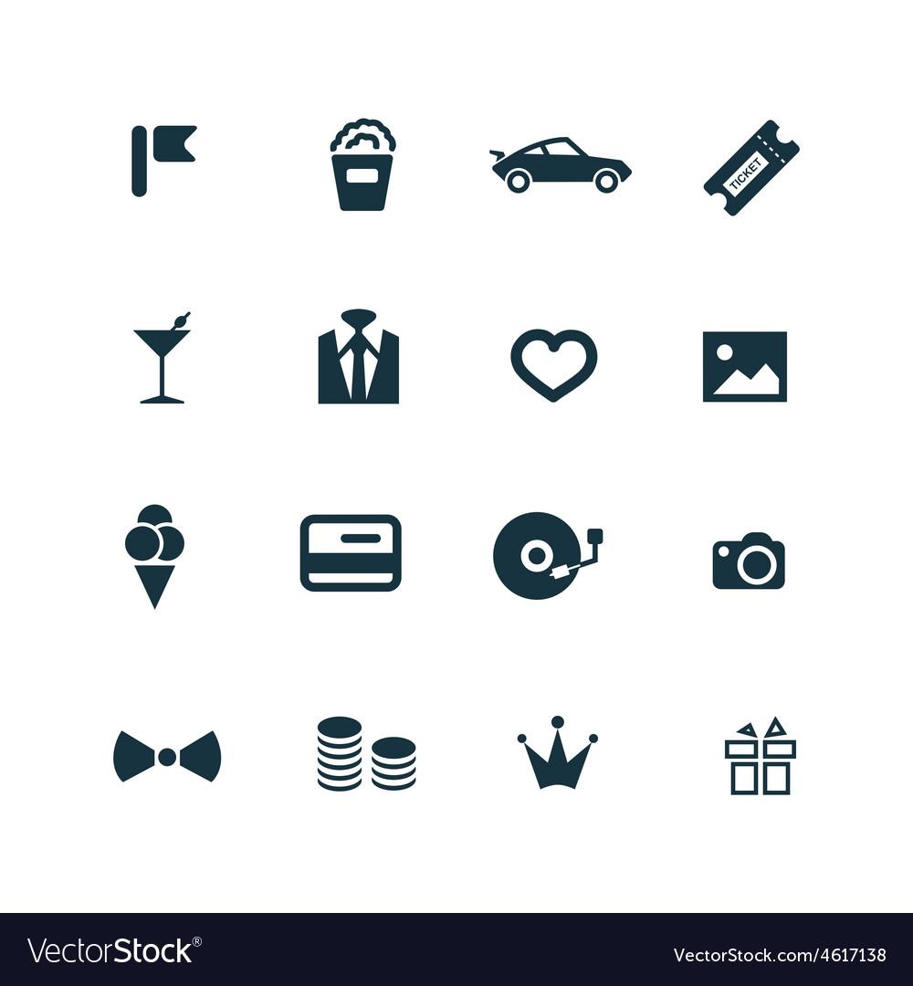 Birthday icons set vector | Price: 1 Credit (USD $1)
