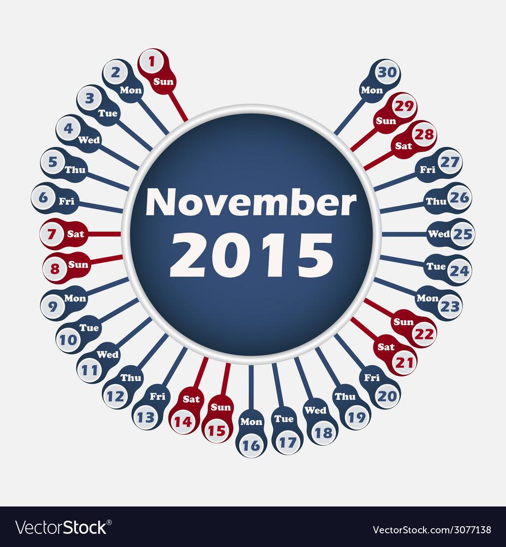 Calendar 2015 november template vector | Price: 1 Credit (USD $1)