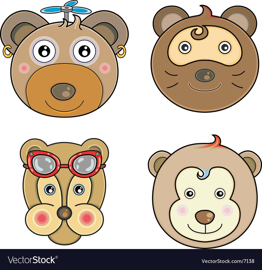 Cartoon animal faces vector | Price: 3 Credit (USD $3)